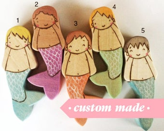 Mermaid Boys, Waldorf-inspired all-natural wooden toys