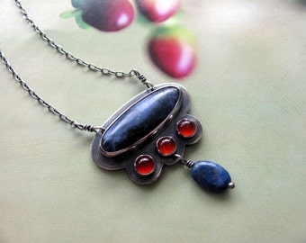 Small Sterling Silver Matalwork Pendant, Sodalite Carnelian Blue Red Pendant, Handmade Necklace