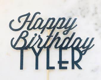 Custom Happy Birthday Cake Topper. Personalised Cake Topper. Art Deco Cake Topper