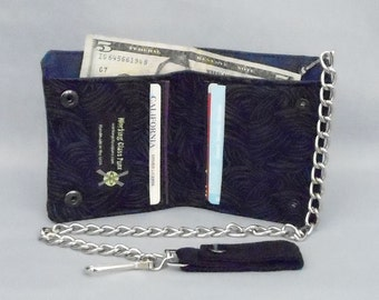Vegan Chain Wallet Black and Gray Scratch Print, Navy Blue Canvas, Fabric Pockets, Detachable Chain