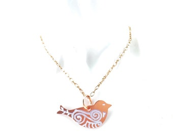 Copper Bird Necklace Handpainted Tsalagi Cherokee Made