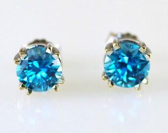 Natural Blue Zircon 14k Earrings
