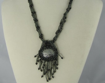 Grey Picture Jasper Beaded Cabochon Necklace