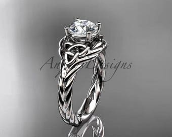 "Celtic engagement ring, 14kt white gold celtic trinity twisted rope wedding ring with a ""Forever One"" Moissanite center stone RPCT9125"