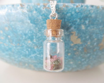 Bottle necklace, tourmaline necklace