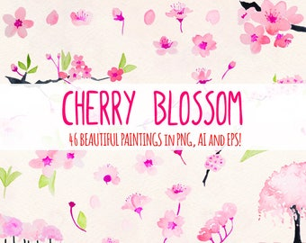 Cherry Blossoms - 46 Floral Themed Elements - Watercolor Graphics Kit Bundle!