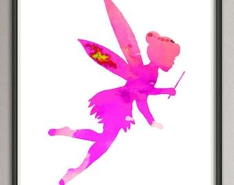fairy print, fairy watercolor print, purple pink magenta fairy art, nursery fairy, fairy illustration silhouette tale art decor wall art