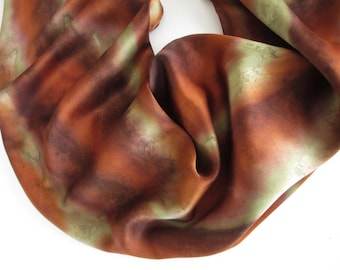 Brown Silk Scarf, Hand Painted Brown Silk Scarf, Green Silk Scarf, Hand Painted Silk Scarf, Hand Painted Green Silk Scarf, Autumn Colors