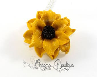 Sunflower Necklace Yellow Dainty Necklace Flower Necklace Jewelry Sunflower Jewelry Polymer Clay Sunflower Lovely Necklace Gift for her