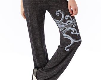 Octopus lounge pants, Octopus print, yoga, workout, dance, Kraken, black long pants
