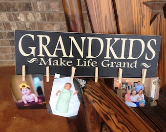 Mother's Day Gift ~ Grandkids Make Life Grand Custom Wood Sign ~Grandparents Gift ~Personalized Grandparent ~Grandkids Sign ~Mimi Gifts