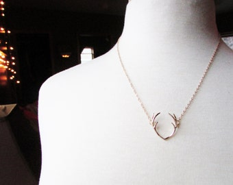 Gold Antler Necklace - gold plated deer antlers gold chain