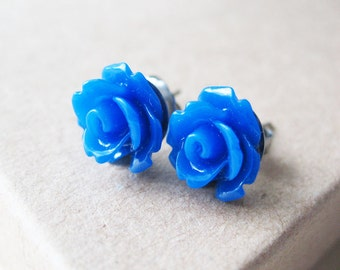 Blue Flower Stud Earrings Rose Earrings. Cobalt Blue Rose Flower Earrings Jewelry For Women