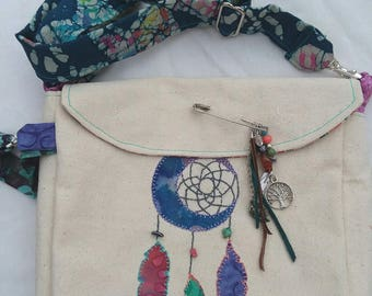 Beach treasure gathering bag, dream catcher, handmade