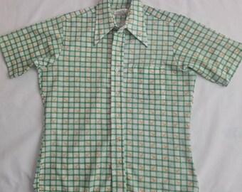 Vintage Men's Polyester Anchor Shirt by Bonaire Sz Medium Button Down Knit Disco Kitsch VLV Retro Orange Green Nautical