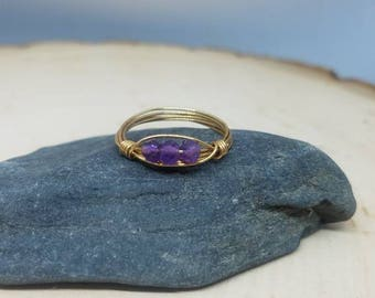 Three Stone Amethyst and Gold Wire Wrapped Ring - Size 6.5 // Gifts for Her