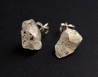 Gold Splatter & Raw Quartz Chunk Earrings, Geo Earrings, Rock Stud Earrings, Crystal Earrings