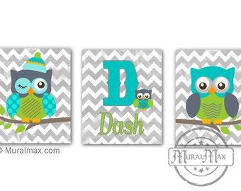 Owl Nursery Decor Boy Nursery art  Set of three  Boys Room Decor - Woodland Animals - Owl Personalized Prints
