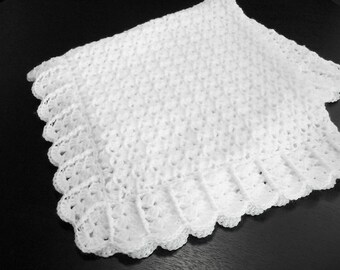 Crochet Baby Blanket White Baby Blanket Afghan Christening Baptism Baby Shower Gift Blanket Crib Stroller Car Seat Baby Blanket -