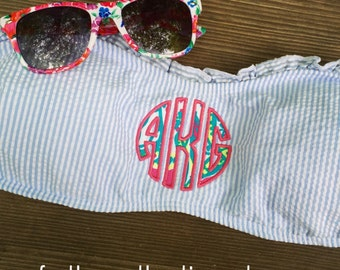 Lilly Monogram Swimsuit Top - Lilly Monogram Bandeau Top - Lilly Monogrammed Bandeau Top - Lilly fabric Monogram Bandeau Top