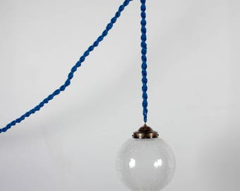 Textured Glass Globe Pendant Lamp on Macrame 13ft Cord