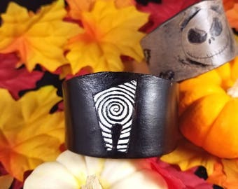 Tim Burton inspired leather bracelet