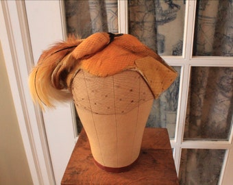 1950's Yellow Feather Hat with Veil