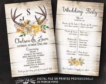 Boho Wedding Program | Rustic Wedding Program | Printed or Printable Digital File 5 x 8 Ceremony Card | Antlers Horns Fall Gold Leaves