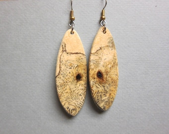 Unique Sindora Burl Exotic Wood Dangle Earrings ExoticWoodJewelryAnd handcrafted