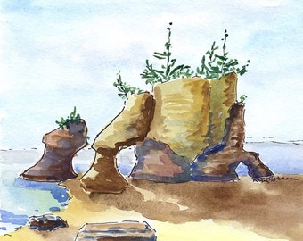 Watercolor Original Painting Bay of Fundy, Canada