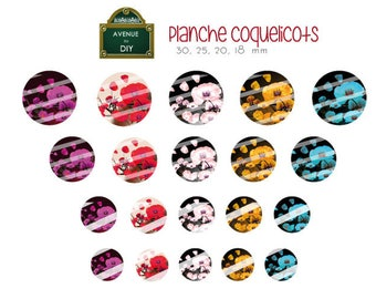 Collage sheet digital poppy to create round and oval cabochons (30 25 20, 18, 30 x 40, 18 x 25, 18x13mm)
