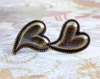 Heart Duo post earrings