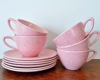 Vintage Monterey Pottery Pink Speckled Teacups and Saucers, California Pottery