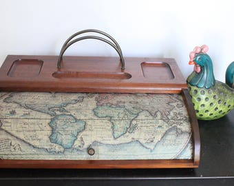Vintage/Antique  Mens dresser valet, dresser caddy, with jewelry drawer box, World map theme roll back lid with mohair lining