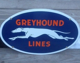 Greyhound Lines Large Sign Large Oval  Office Cabin Home Shop Farm Decor
