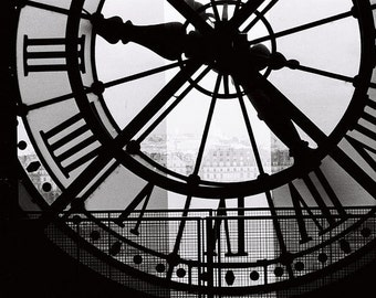 Paris Photography, A moment in Paris, black and white photography, Living Room Art, Clock at the Musee D'Orsay, black and white Paris print