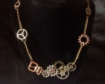 Silver, Copper, And Gold Steam Punk Gear Necklace