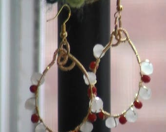 Red and Wite Facetted beads Earrings