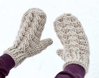 Instant Download - Crochet Pattern - Cable Mittens and Cowl (Adult size)