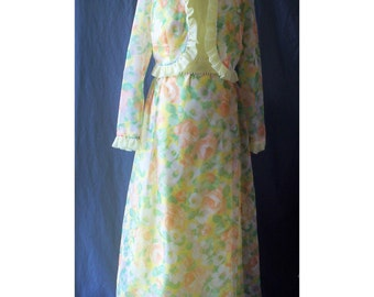 Lemon Chiffon Vintage 1970s Maxi Dress with Jacket Formal S B36