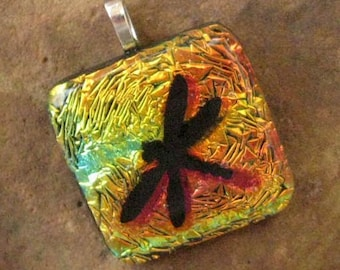 Dragonfly Pendant, Fused Glass Jewelry, Dragonfly Jewelry, Dichroic Fused Glass Pendant - Dragonfly in the Sunset