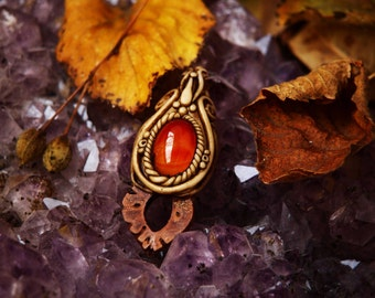 Carnelian with Peach Seed Necklace