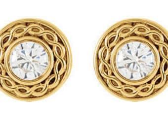 Diamond Stud Earrings, Diamond Earrings, Bezel Earrings, Diamond Bezel Studs, Diamond Bezel Earrings