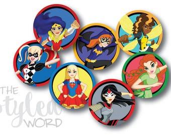 DC Superhero High Girls Cupcake Toppers • Girls Birthday • Wonder Woman • Super Girl • Bat Girl (Instant Digital Download)