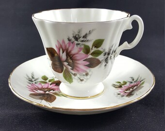 Royal Grafton Fine Bone China Tea Cup & Saucer with Pink Flowers