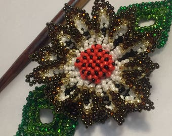 Beaded flowers hair stick and slide