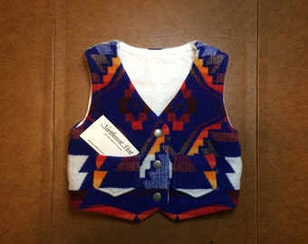 Hand crafted 2T vest made with Sapphire Diamond Pendleton Wool!