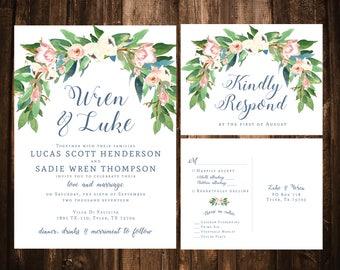 Floral Wedding Invitations; Blush & Blue Wedding Invitations; Blush Wedding Invitations; Watercolor Floral Wedding Invitations; Dusty Blue