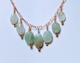Aquamarine necklace / March birthstone necklace  /  aquamarine stone necklace / pendant necklace / long short aquamarine birthstone necklace