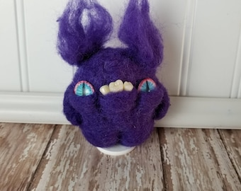 Adorable Needle Felted Wool Toothy Monster- crazy eyes, purple